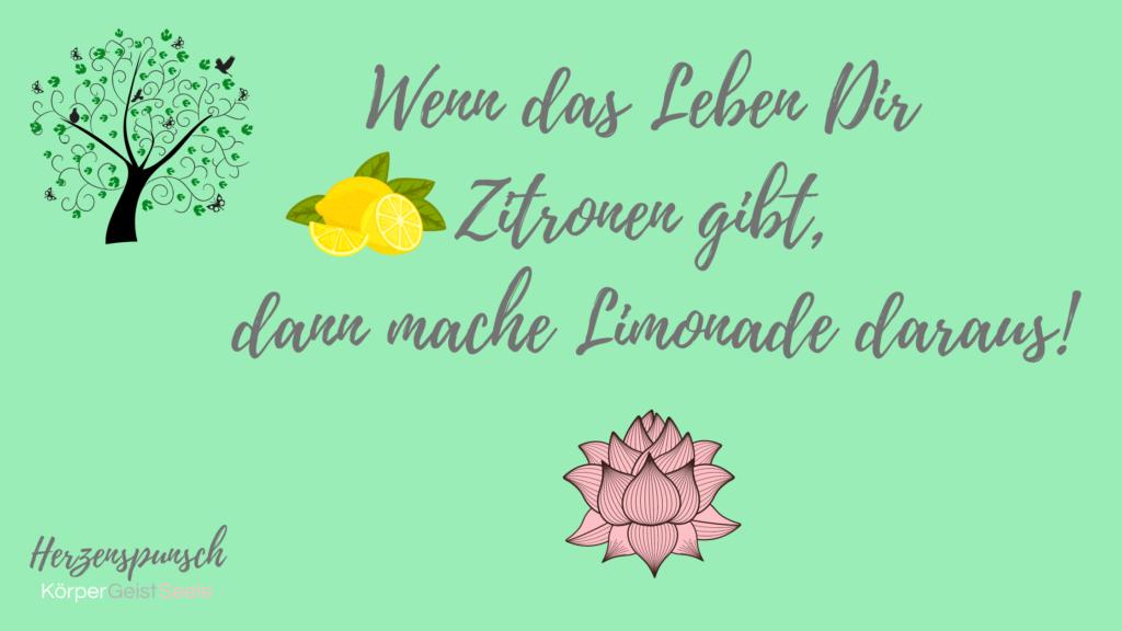 Wenn das Leben dir Zitronen gibt, dann mache Limonade daraus